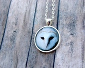 Barn Owl Necklace: Gift for Her. Handmade. Jewelry. Pendant. Necklace. White Owl. Nature. Silver. Lizabettas