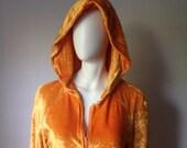 RESERVED for Diane Mansavage - Floor-Length 70s Funk Gold Crushed Velvet Robe S
