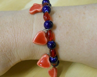 REDUCED PRICE - Sale - Beaded Clay Heart Memory Wire Bracelet, Handmade Clay Hearts - Red and Blue