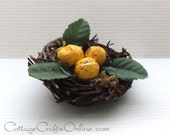 "CLEARANCE, Bird Nestwith Three Eggs and Leaves,  2 1/2"" wide -  PaCK OF THREE - Wreath & Floral Embellishment, Decor, Craft Supply"