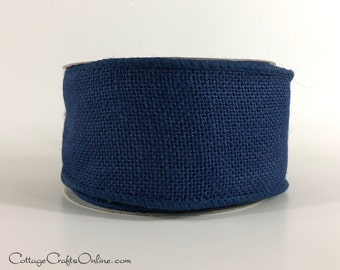 "Wired Ribbon 2 1/2"" Navy Blue Burlap - TEN YARD ROLL -  Offray, Natural Jute Wire Edged Ribbon, Burlap Ribbon, Craft Ribbon"