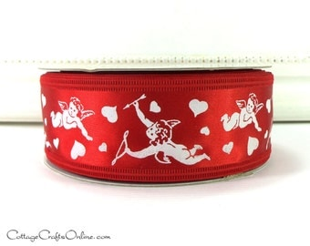 "CLEARANCE! Wired Edge Valentine Ribbon, 1 1/2"" Red White Cupid and Arrow Print - THREE YARDS -  ""Cupid's Bow"" Craft Wire Edge Ribbon"