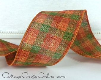 "Wired Ribbon Fall Plaid, 2 1/2"" Orange, Green, Burnt Orange, FOUR & 2/3 YARDS, ""Carl"" Check #60420 Halloween, Thanksgiving Wire Edged Ribbon"