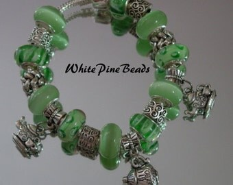 Tea Time  European Charm Bracelet  Green Handmade with Murano Glass Lampwork Beads By White Pine Beads