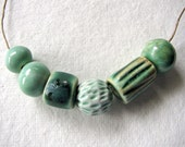 Woodland Green Beads Stoneware Clay