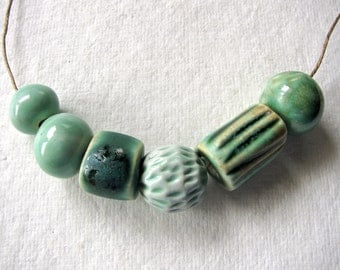 Woodland Green Beads Stoneware Clay