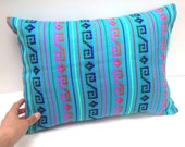 Mexican Pillow Cover - 12x16 Blue  Aztec Cushion - tribal home decor - bedding  - turquoise embroidered cambaya fabric housewares