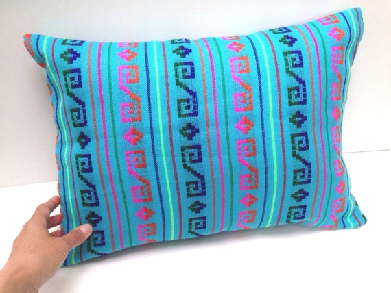 Items similar to mexican pillow cover 12x16 blue aztec Mexican embroidered bedding