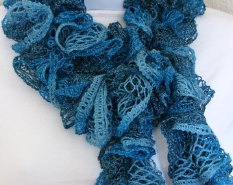 Ruffle lace soft scarf hand knit BLUE silver shiny