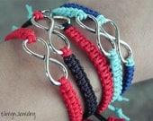 Infinity Bracelet, Couple Bracelet, Knot Bracelet, Turquoise, Stacking Bracelet, Macrame, Cord, Friendship Jewelry, Bridesmaid Gift