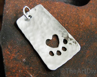 Recycled sterling silver pet tag necklace with 'heart paw' cutout