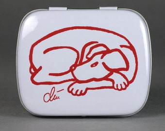 "Jacqueline Ditt - ""Tin Box Dog Red""  - mint box - mini pill box"