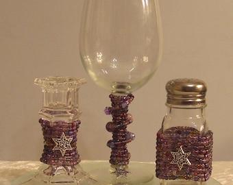 Purple Beaded Havdalah Set