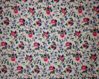 2 Yards of Floral Fabric - Pink, green, blue, off white - Cotton