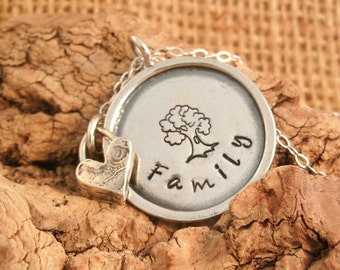 Family Necklace - Tree Necklace - Family Tree - Mother's Day Gift - Personalized Hand Stamped Necklace