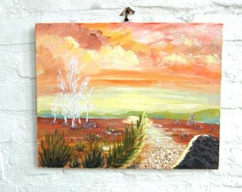 Desert Landscape Painting Vintage Cactus Hand Painted Landscape Acrylic Paint on Canvas Signed 1979