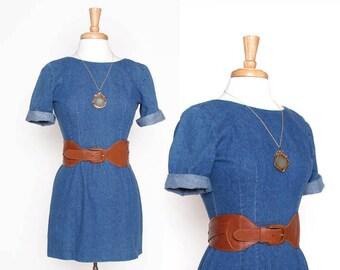 Vintage 80s 90s Denim Fitted Mini Dress / jean dress / Small