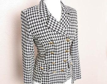 Vintage 80s 90s Black White Houndstooth Hugo Buscati Jacket Coat