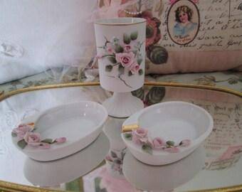 Lefton smoking set shabby pink rose ashtray cigarette holder 1196 hand painted smoking set Lefton china