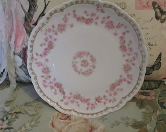 Pink rose china plate shabby pink rose china plate home decor plate vintage Germany made porcelain plate vintage shabby wedding plate