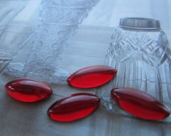 Ruby Domed Glass Cabs 15x7mm 4Pcs.