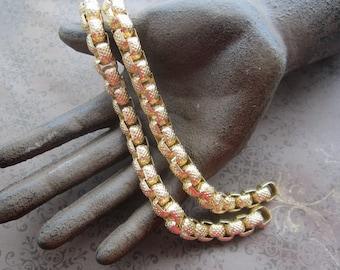 """2 Vintage Anodized Aluminum Bracelet Chains 7.5"""""""