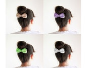 SALE, Three crochet hair bows, Pick your color, Beige, White, Lilac, Blue, Mint, Cute hain bun bow, Girls hair bows, Discount gift for girls