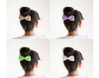 Pink Crochet Hair Bow Girls Hair Bow Pink Hair Bow Clip - Hairstyle bun with bow