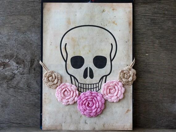 SALE Pink flower necklace Bib necklace Floral crochet jewelry Statement necklace