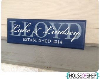 CUSTOM family name wood sign - first names