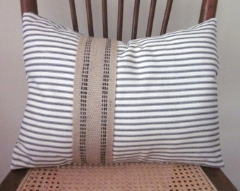 Black Ticking Pillow Cover with Jute Webbing, Cottage Chic, French Cottage, Decorative Pillow, 14 x 18 or 12 x 16 Inches