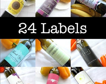 24 Printed, Ready to Use Labels of Your Personalized Wine Label