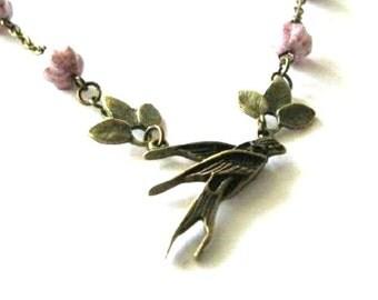 Swallow necklace purple melon beads jewelry leaf antique brass bronze bird necklace - Purple necklace