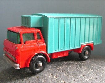 Vintage Matchbox Car Lesney Series GMC Red and Turquoise Refrigerator Truck No. 44 Metal Toy