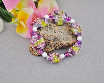 Purple Plumera-lentil glass bead flower bracelet