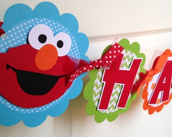 Elmo Birthday Party Banner in Bright Colors