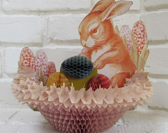 Vintage Honeycomb Easter Bunny Basket Decoration Centerpiece with Eggs and Flowers