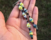 Paper bead earrings ~ yellow teal and green ~ Sale