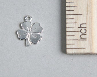 Clover Charm, Silver Shamrock Charm, 925 Sterling Silver Charm, Sterling Silver Lucky Clover Charm, Flower Charm, 12mm ( 1 piece )