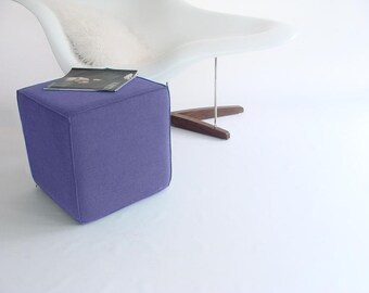 Pouf/Ottoman /Minimalistic /Lavender Linen /Modern Floor Pouf /Additinal Sturdy Seating/ Unique Side table/ Foot Stool /Zigzag Studio Design