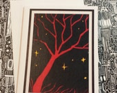 Neat Red Tree Silhouette Blank Note Card