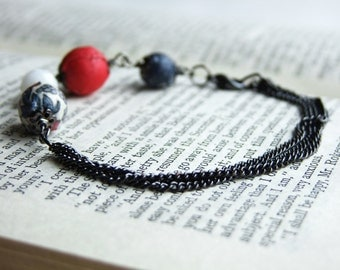 Liberty red and blue, black chain strands bracelet, fabric and faceted glass beads