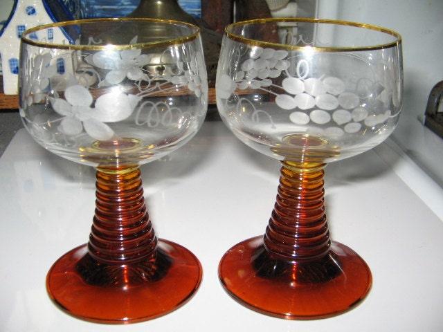 Vintage German Crystal Wine Glasses Pair Of May Wine Mai