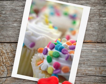 Cupcake Photo Notecards, Party Invitations, Cupcake birthday card, Cupcake Card Set, Cupcake Stationary, Photo Greeting Card, Birthday Card