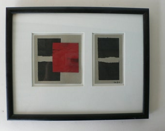 vintage collage, framed black and red signed 91 from Diz has Neat Stuff
