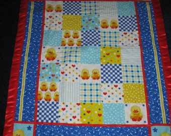 SALE - Ducks, Hearts, Stripes Quilted Crib Baby Quilt