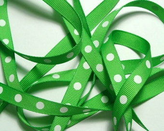 """3/8"""" Dotted Grosgrain Ribbon - Apple with White Dots - 5 yards"""
