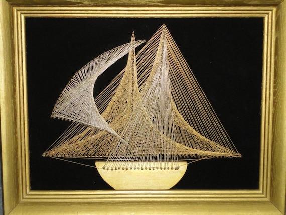Vintage Retro 70 S Nautical Framed String Art Wall