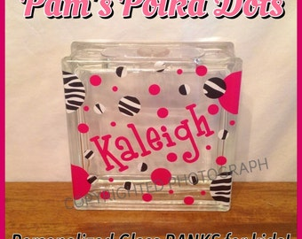 Customized Children's GLASS PIGGY BANK with Name, Initial, Polka Dots, Sports Balls from Glass Block
