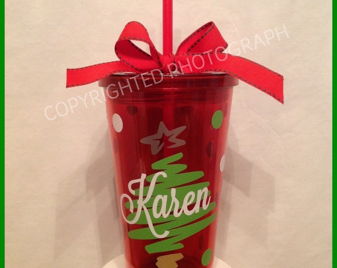 Personalized CHRISTMAS TREE Acrylic TUMBLER with Name Initial Monogram Clear, Red or Green Tumbler Great Holiday Gift